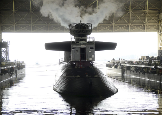 미국 해군의 오하이오급 핵추진 전략잠수함인 테네시함(SSBN 734). 전문가들은 이 잠수함에 W76-2 잠수함발사미사일(SLBM)용 저위력 핵탄두가 탑재된 것으로 보고 있다. [사진 미 해군]