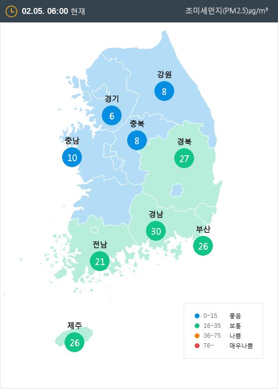 [2월 5일 PM2.5]  오전 6시 전국 초미세먼지 현황