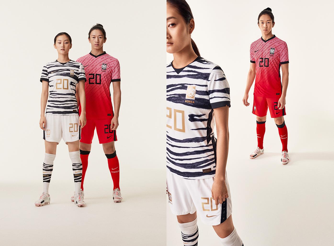 나이키가 6일 발표한 한국축구대표팀 홈과 원정 유니폼. 한류와 백호를 재해석해서 담았다. [사진 나이키]