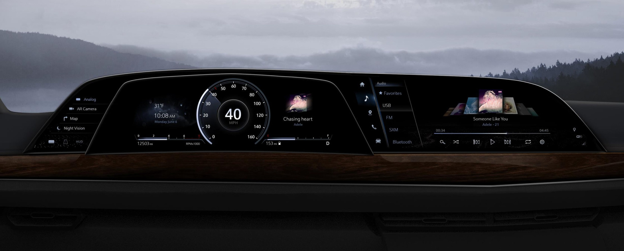 LG전자가 공급하는 2021년형 캐딜락 '에스컬레이드' 차량의 디지털 콕핏 시스템 [사진 LG전자]