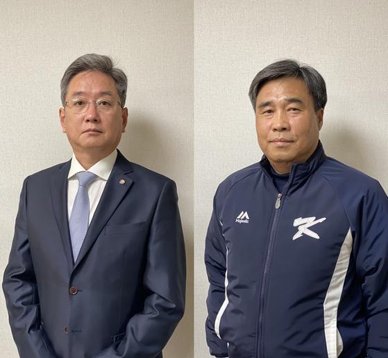 허강 심판위원장(오른쪽), 김태선 기록위원장