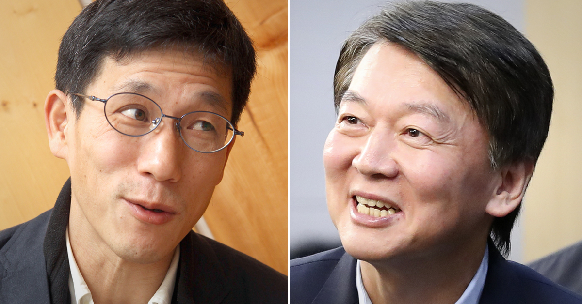 진중권 전 동양대 교수(왼쪽)와 안철수 전 국민의당 대표. [중앙포토]