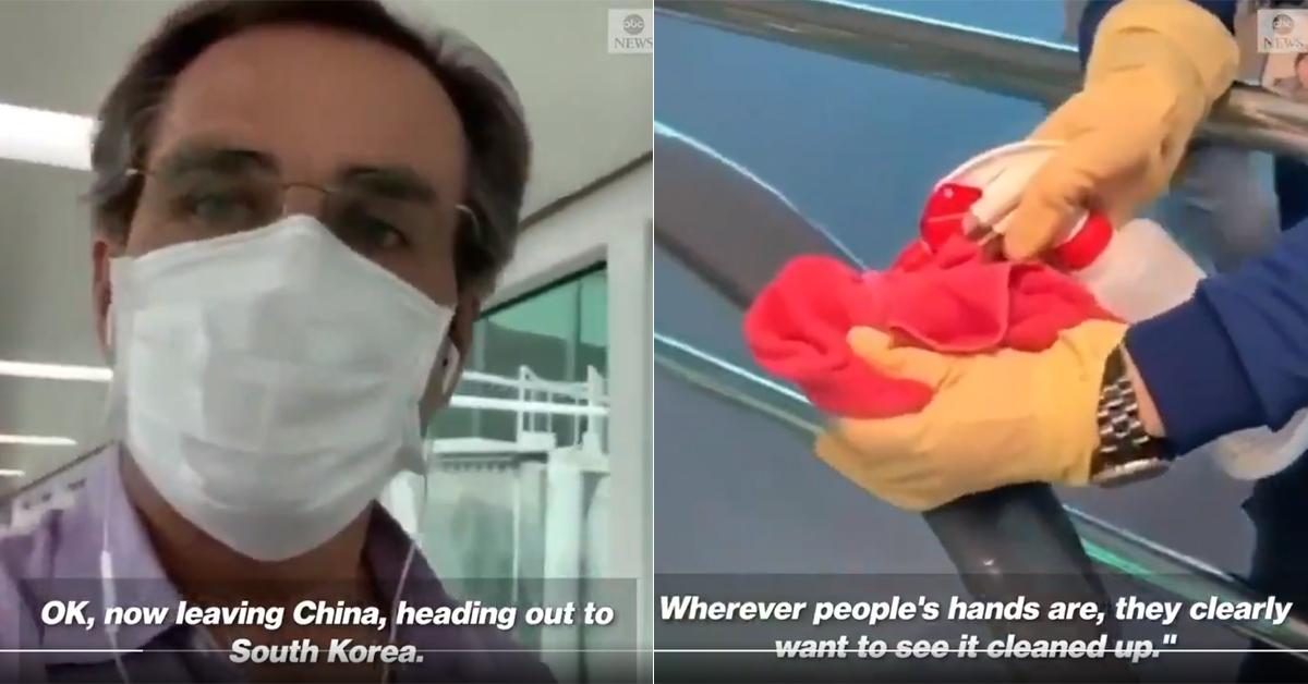 미국 ABC 방송 밥 우드러프 기자(왼쪽)가 지난달 23일 촬영한 인천국제공항의 방역 모습이 전 세계인에게 극찬을 받고 있다. [ABC뉴스 트위터 영상 캡처]