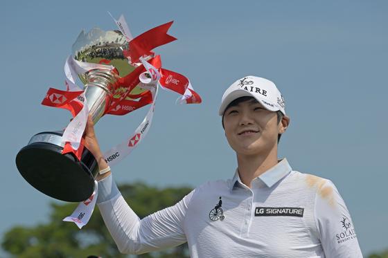 지난해 HSBC 여자 월드챔피언십에서 우승한 박성현. 이 대회가 취소되면서 박성현은 타이틀 방어 기회를 잃었다. [신화통신=연합뉴스]