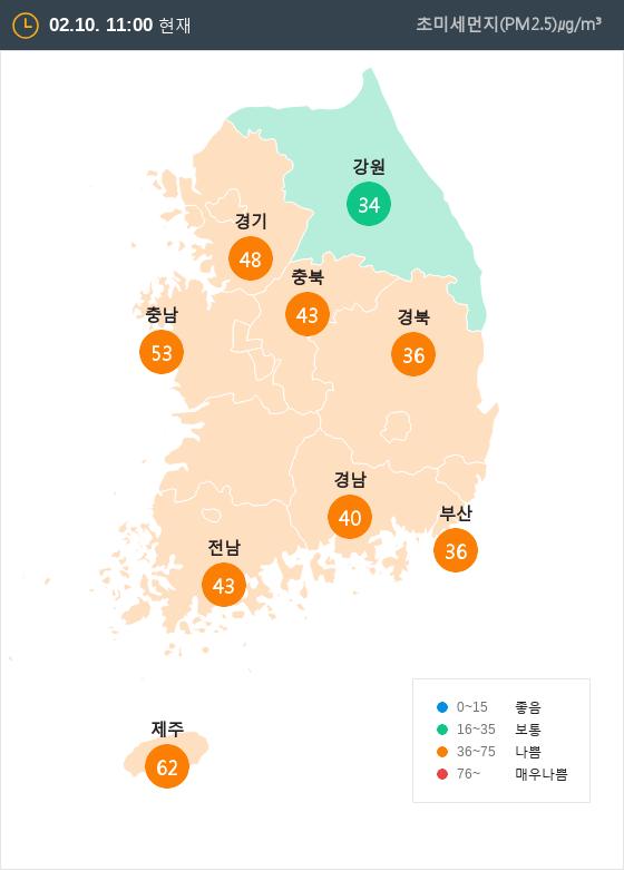 [2월 10일 PM2.5]  오전 11시 전국 초미세먼지 현황