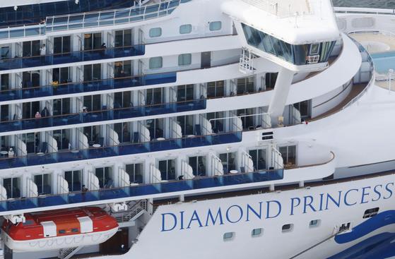 요코하마에 정박해 있는 크루즈선 '다이아몬드 프린세스' [교도=연합뉴스]