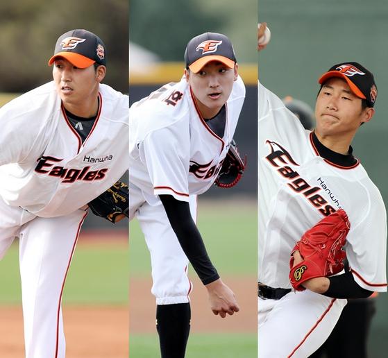 한화 선발투수 후보 김민우(왼쪽부터), 김이환, 남지민. 한화 제공