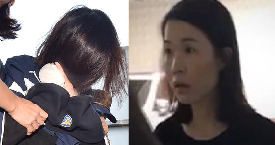 고유정이 취재진 앞에서 머리카락으로 얼굴을 가리고 있다. 오른쪽은 고유정이 경찰에 붙잡힐 당시 범행을 부인하는 모습. [중앙포토]