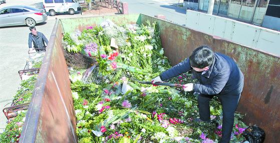 부경화훼공판장에서 직원들이 경매에서 유찰 돼 시든 꽃을 폐기 처분하고 있다. 송봉근 기자