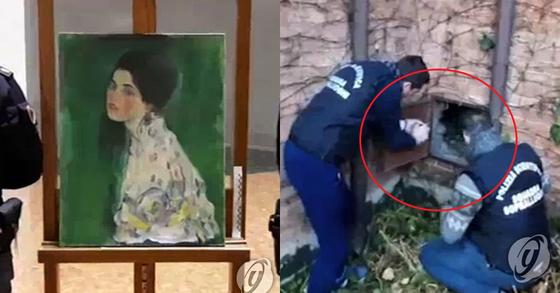 갤러리에서 사라졌던 구스타프 클림트의 작품(왼쪽)이 22년 만에 갤러리 외벽 속 공간에서 발견됐다. [AP=연합뉴스]