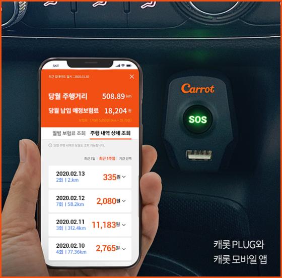 캐롯손해보험이 출시한 '퍼마일 보험'앱.