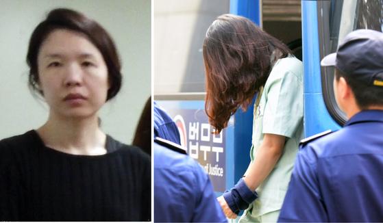 전남편 살해 혐의로 기소된 고유정. 오른쪽 사진은 고유정이 3차 공판 당시 제주지법에 출석하는 모습. [연합뉴스] [뉴시스]