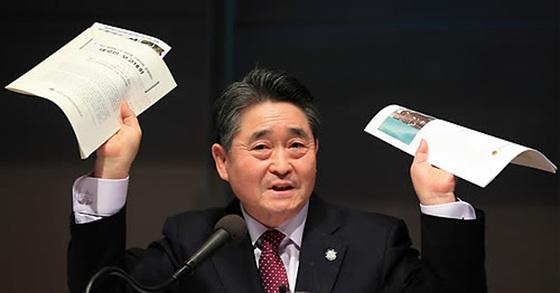 5·18 배후에 북한군이 있다고 주장하는 지만원 씨. [연합뉴스]