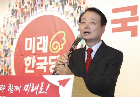 미래한국당 중앙당 창당대회가 5일 오후 서울 여의도 국회도서관에서 열렸다. 한선교 미래한국당 대표가 발언하고 있다. 임현동 기자