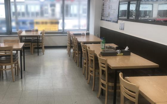 13일 오후 A씨 식당 내부. 채혜선 기자