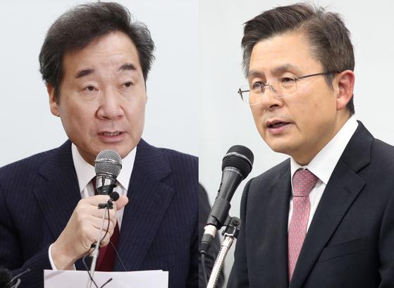 이낙연 전 국무총리와 황교안 자유한국당 대표.뉴스1