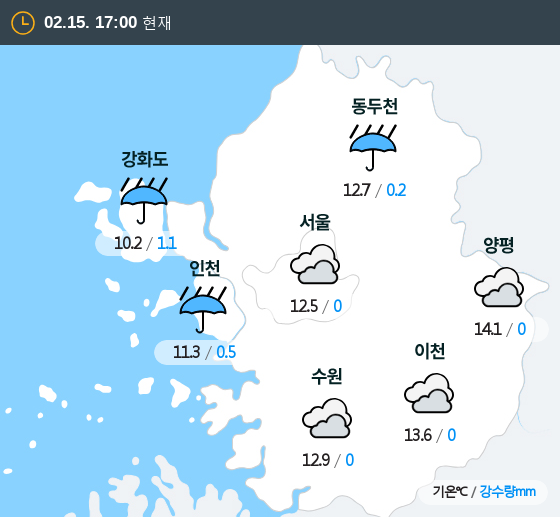 2020년 02월 15일 17시 수도권 날씨
