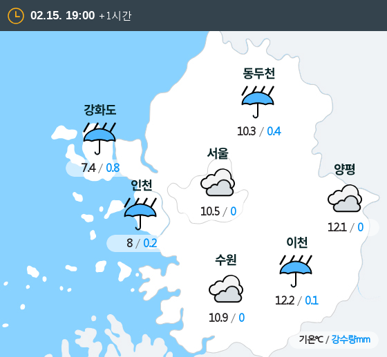 2020년 02월 15일 19시 수도권 날씨
