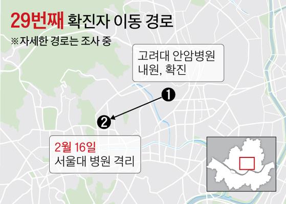 29번째 확진자 이동 경로 그래픽=김주원 기자