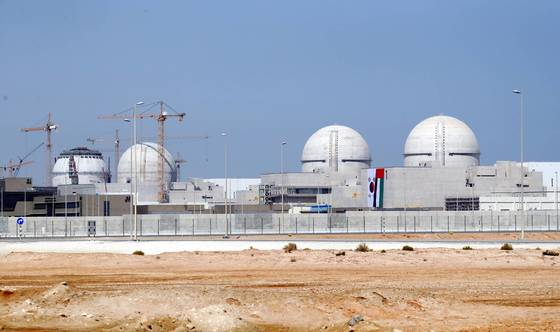 UAE 수도 아부다비에서 서쪽으로 270여 킬로미터 떨어진 바라카 원전 공사 현장. [청와대사진기자단]
