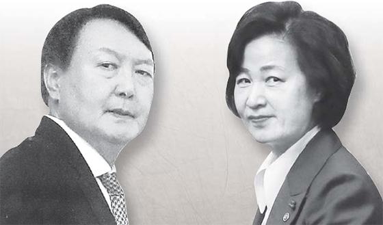 윤석열(左), 추미애(右)