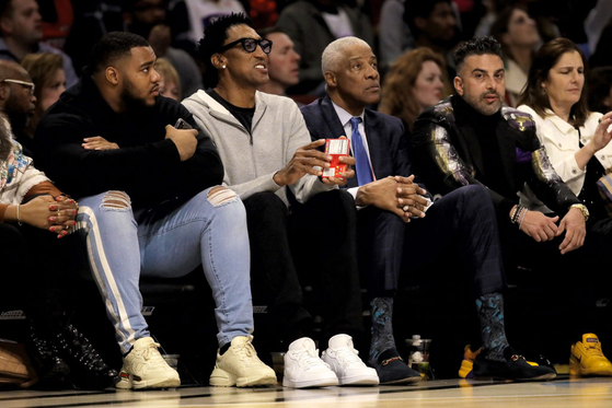 CHICAGO, ILLINOIS - FEBRUARY 16: Scottie Pippen and Julius Erving look on during the 69th NBA All-Star Game at the United Center on February 16, 2020 in Chicago, Illinois. NOTE TO USER: User expressly acknowledges and agrees that, by downloading and or using this photograph, User is consenting to the terms and conditions of the Getty Images License Agreement. (Photo by Jonathan Daniel/Getty Images)