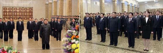 김정은 북한 국무위원장이 부친인 김정일 국방위원장의 생일(광명성절·2월 16일) 78주년을 맞아 금수산태양궁전을 참배했다고 북한 매체들이 16일 보도했다.(왼쪽) 올해 김 위원장을 수행한 간부 규모가 예년에 비해 대폭 줄었는데, 신종 코로나바이러스 감염증(코로나19) 대응 총력전을 의식한 행보라는 분석이 제기된다. 오른쪽은 지난해 광명성절 참배 사진.[사진 연합뉴스]