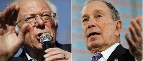 미 민주당 대선 경선 여론조사에서 1·2위인 버니 샌더스와 마이클 블룸버그.[AP·로이터=연합뉴스]