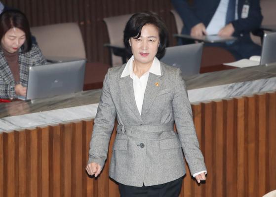 추미애 법무부 장관이 18일 서울 여의도 국회에서 열린 교섭단체 대표연설에 참석하고 있다.[연합뉴스]