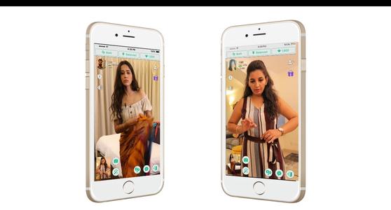하이퍼커넥트의 인도 광고 영상 캡처. 아자르 앱에서 만난 친구의 어머니로부터 사리 착용법을 배우는 에피소드를 다룬 광고다. 사리는 스카프 형태의 긴 천을 몸에 감아서 입는 인도 여성의 전통 의상인데, 현지 젊은이 중에는 사리 착용법을 어려워하는 이들도 종종 있다. [하이퍼커넥트]