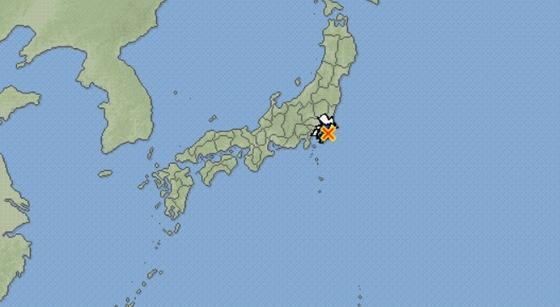20일 낮 12시 53분쯤 규모 4.5의 지진이 발생한 지바(千葉)현 북동부 지점. [연합뉴스]