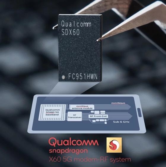 미국 퀄컴이 삼성전자에 생산을 맡긴 '스냅드래곤 X60' 모뎀칩의 모습. [사진 퀄컴 홈페이지]