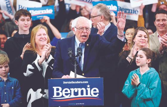버니 샌더스 상원의원이 지난 11일 뉴햄프셔 경선에서 연설하는 장면. [로이터=연합뉴스]