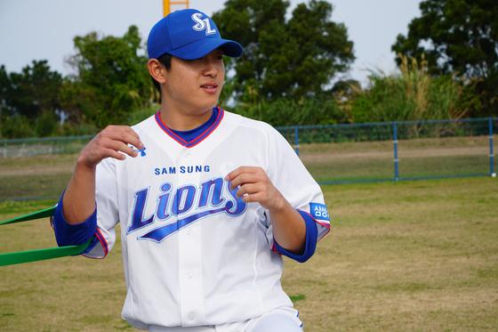 일본 오키나와 1군 캠프에서 몸을 만들고 있는 삼성 양창섭. 삼성 제공