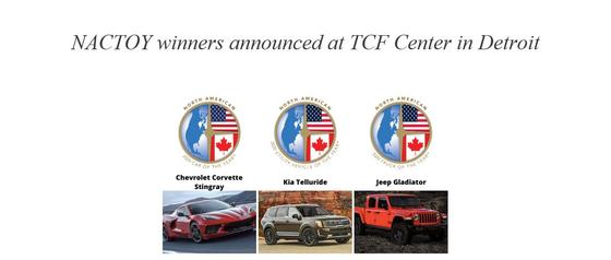 '2020 북미 올해의 차(NACOTY)' 유틸리티 부문에서 기아차 텔루라이드가 수상했다. 승용 부문은 쉐보레 콜벳 스팅레이, 트럭 부문은 지프 글래디에이터가 영예를 안았다. [NACOTY 홈페이지 캡처]