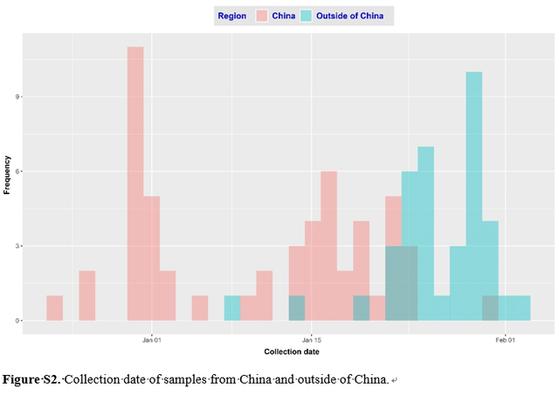 신종 코로나 발병 시점과 관련해 중국은 붉은 색, 중국 이외의 지역은 푸른 색으로 표시한 중국 논문의 그래프. [중국 환구망 캡처]