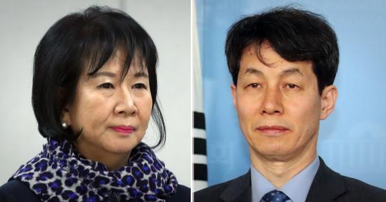 무소속 손혜원 의원(왼쪽)과 윤건영 전 청와대 국정상황실장. [연합뉴스·뉴스1]