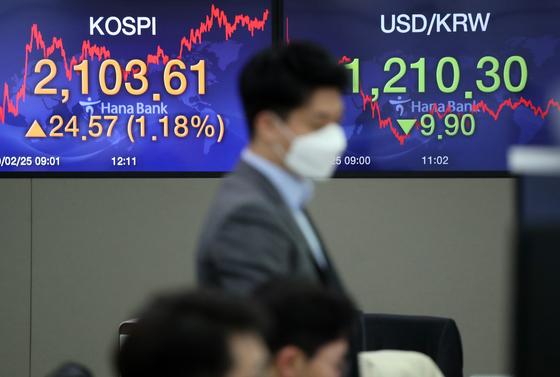 코스피가 24.57포인트 오른 2103.61로 장을 마감한 25일 서울 하나은행 딜링룸에서 딜러들이 업무에 한창이다. 연합뉴스