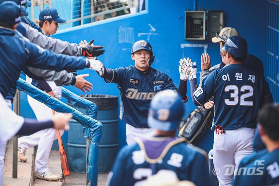 미국 애리조나 스프링캠프에서 연습경기를 소화 중인 김성욱의 모습. NC 제공