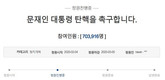 문재인 대통령 탄핵촉구 국민청원 [청와대 국민청원 캡처]