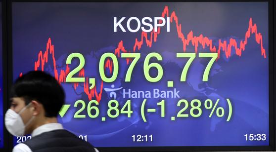 26일 오후 서울 하나은행 딜링룸. 이날 코스피는 전 거래일보다 26.84포인트(1.28%) 내린 2076.77로 마감했다. 연합뉴스