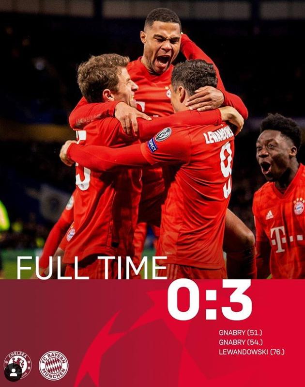 유럽 챔피언스리그 16강 1차전에서 첼시를 3-0으로 완파한 바이에른 뮌헨 선수들. [사진 뮌헨 인스타그램]