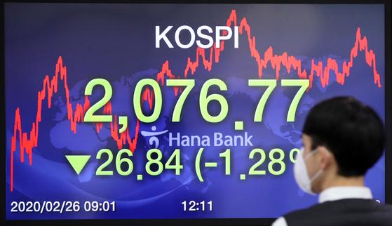 코스피 지수가 다시 2100선이 무너졌다. 26일 오후 서울 명동 하나은행 딜링룸에서 직원들이 마스크를 쓰고 업무를 보고 있다. [연합뉴스]