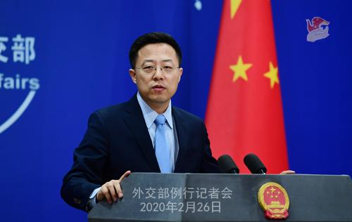 """자오리젠 중국 외교부 대변인은 26일 정례 브리핑에서 한국인 입국 제한에 대해 '필요한 조치""""라고 말했다. [중국 외교부]"""