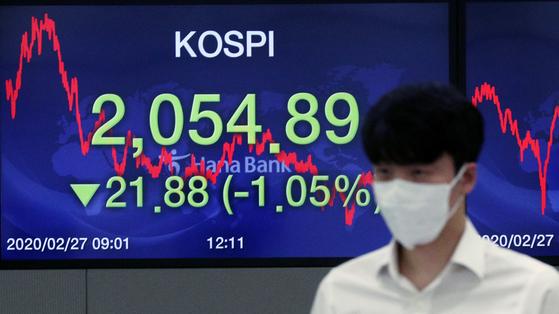 신종코로나바이러스 감염증(코로나19)확산하는 가운데 27일 오후 서울 중구 하나은행 딜링룸 전광판에 코스피지수가 전 거래일보다 21.88포인트 하락한 2054.89를 나타내고 있다. 뉴스1