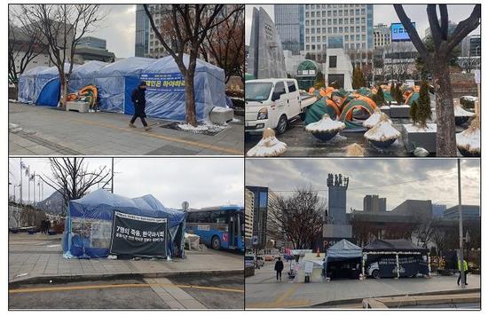 광화문 세종대로에 설치된 불법 천막. 사진 서울시