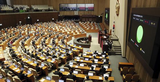 26일 오후 국회 본회의에서 국회 코로나19 대책 특별위원회 구성의 건이 통과되고 있다. 임현동 기자