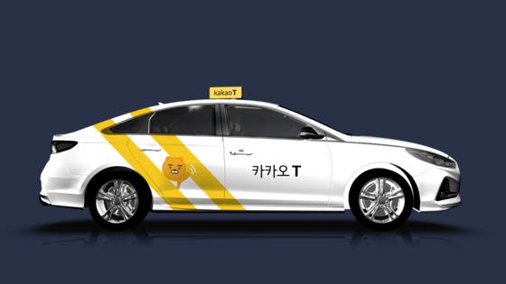 라이언 캐릭터가 들어간 카카오T블루 택시. 사진 카카오모빌리티