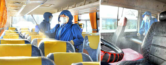 """북한 노동당 기관지 노동신문은 27일 '신형 코로나비루스(바이러스) 감염증을 철저히 막자'는 제목의 특집 기사를 싣고, 평양시 서성구역 위생방역소 사진을 공개했다. 신문은 """"대중교통 운송수단들에 대한 소독사업을 진행하고 있다""""고 설명했다.[사진 뉴스1]"""