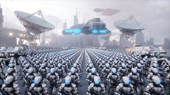 invasion of military robots. Dramatic apocalypse super realistic concept. Future. 3d rendering.; Shutterstock ID 757548973; 프로젝트: 중앙일보 지면; 담당자: 디자인데스크